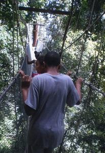 boy walking on KK ladder walkway