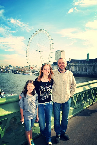 family in front of london eye