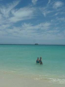 family in the ocean in Hamelin Bay Australi