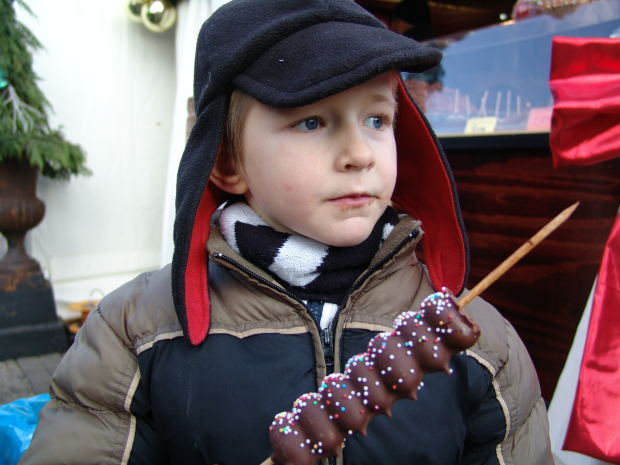 boy eating a chocolate treat