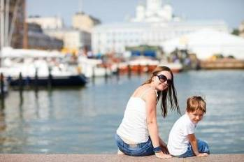 mother and son in Helsinki,Finland