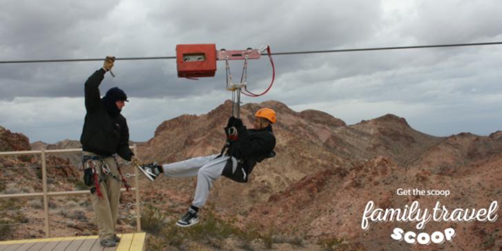 Teenager ziplining outside of Las Vegas