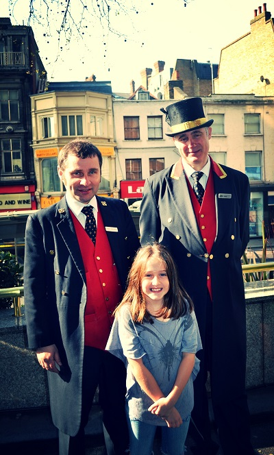 girl with guards at Royal Garden hotel
