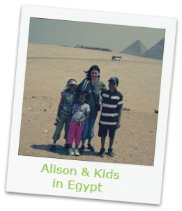 Alison with kids in Egpyt