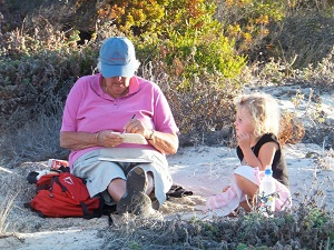 grandmother and child camping