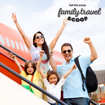 family boarding a plane