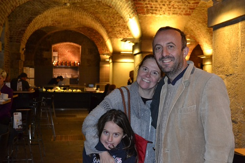 family at cafe in the crypt