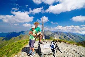 father and son on a mountain