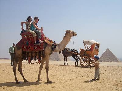 kids on a camel in Egyp
