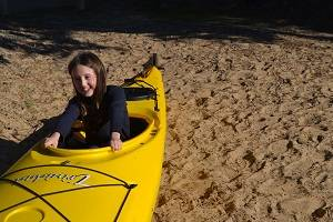 child in a kayak
