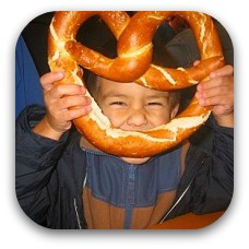 boy with pretzel