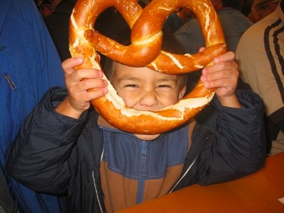 boy with giant pretzel