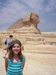 girl in from of the Sphinx in Cairo,Egypt