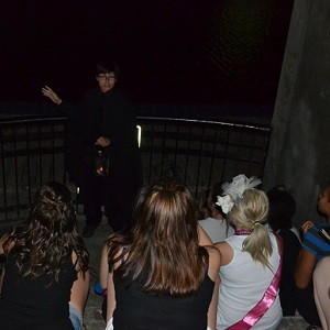 with the tour guide on the haunted walk