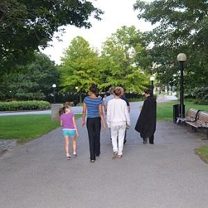 kids walking on the haunted walk
