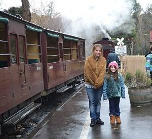 children on railway of puffing billy