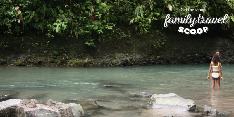Kids swimming near La Fortuna Waterfalls