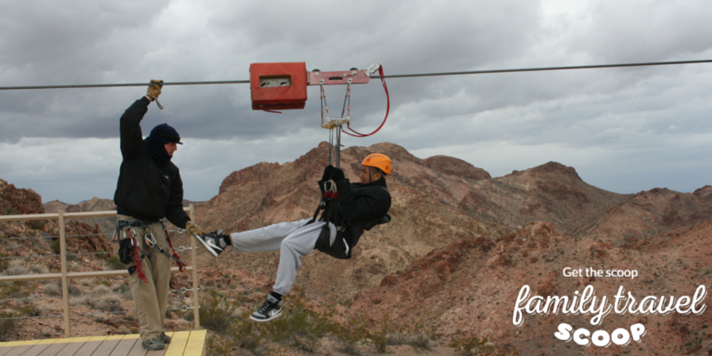 Teenager ziplining outside of Las Vegas