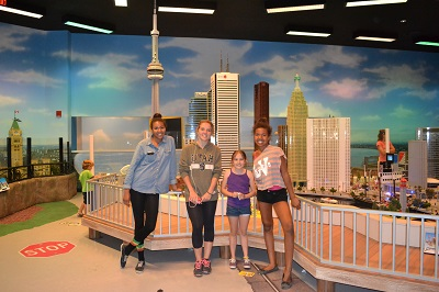 kids at legoland toronto skyline
