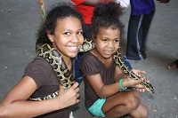 two girls with snakes in penang