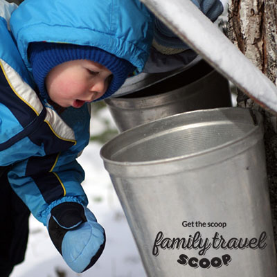 toddler at maple syrup farm