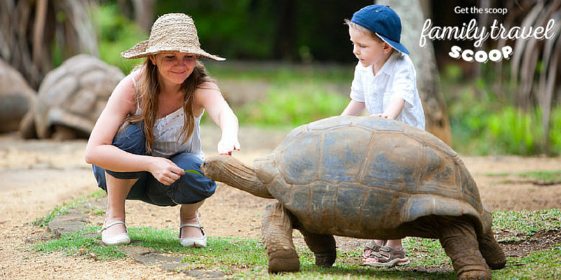 Child with giant turtle in Mauritius