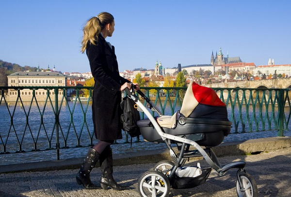 mother and baby in prague