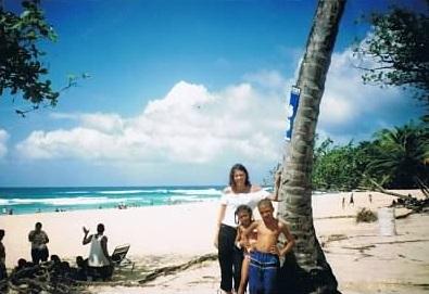 kids and mum on beach at puerto plata