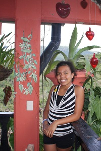 Girl at restaurant in Botanical Gardens Puerto Vallarta