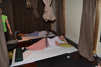 teens getting ready for a massage