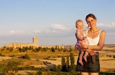 mother and baby at  Penaranda de Duero Castle, Burgos Province, Castile and Leon, Spain