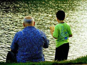 father and son fishin
