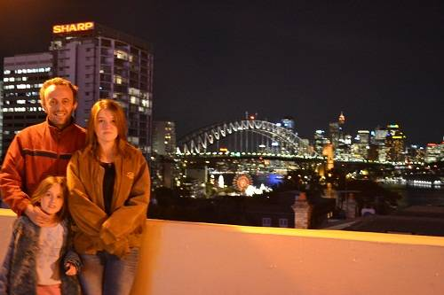 View at night of Sydney Harbour Bridge