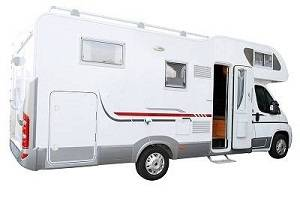 A white RV van