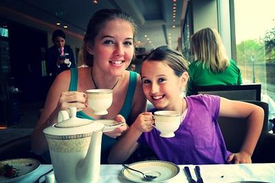 girls having afternoon tea