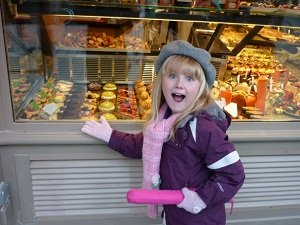 girl at a French bakery