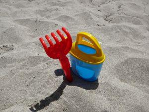 buket on a beach
