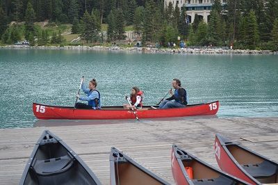 canoeing in banff
