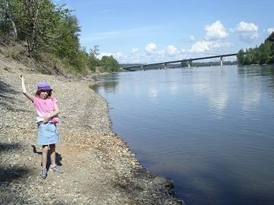 Child at lake in british coloumbi