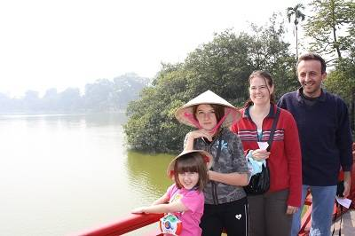 family on the bridge in Hanoi ,Vietnam