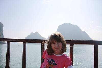 girl on a boat in halong bay