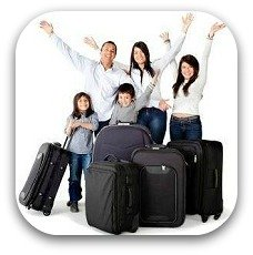 family with suitcases