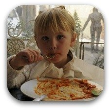 girl eating pasta
