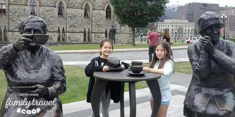 Kids in front of parliament buildings in Ottawa