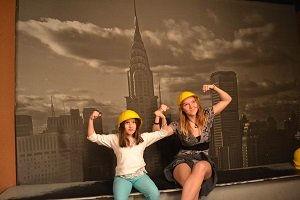 contruction workers play at ripleys nyc