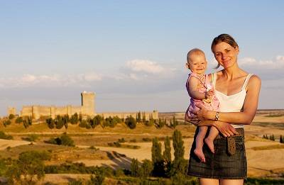 mother and baby at  Penaranda de Duero Castle, Burgos Province, Castile and Leon, Spain