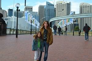 kids on the pathway at darling harbour