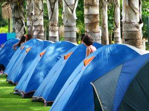 tents in a campground
