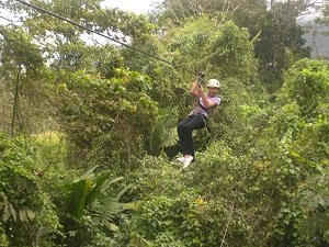 boy ziplining in la fortun