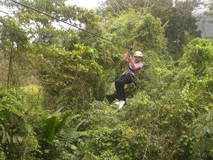 boy ziplining in Costa Rica